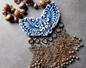 Winged Victory - Porcelain, Glass and Copper Necklace