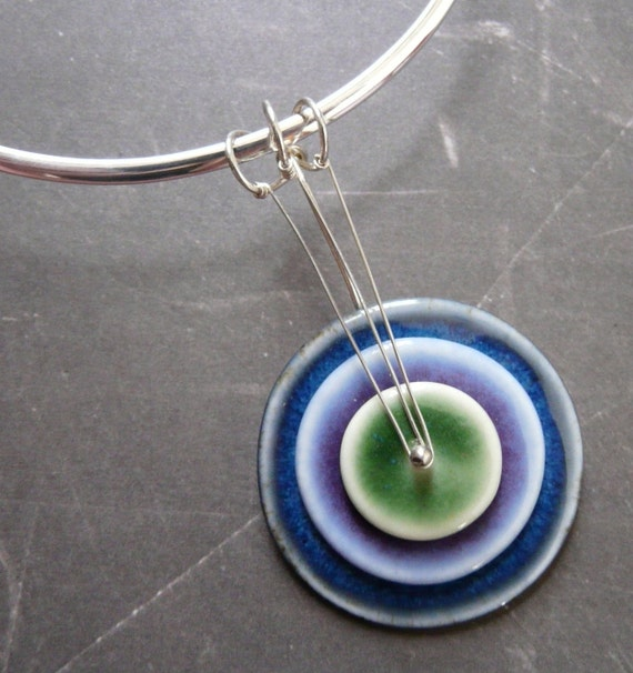 Pop Color Stacked to the Max - Modern Art Porcelain and Sterling Necklace