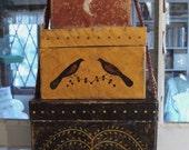 Prim Folk Art BLACKBIRD - WILLOW TREE - CRESCENT MOON Stacking Boxes
