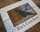 Black Crow Farm art print. Autumn Pumpkin Blackbird. vintage inspired folk art fall decor. Rustic October. Donna Atkins