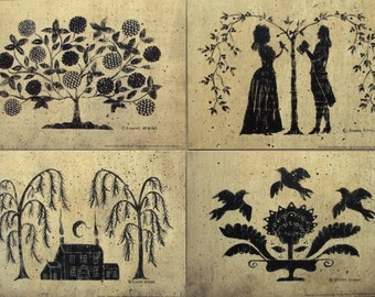 4 Silhouette 5x7 prints - tree of life, romantic couple, house, birds. vintage inspired Primitive Folk Art