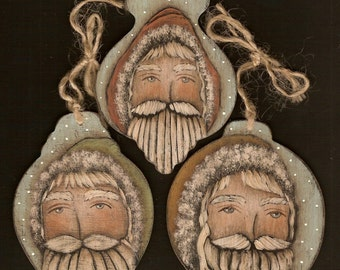3 SANTAS Ornament / Gift Tag Primitive Folk Art Painting E-Pattern by Donna Atkins