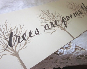 Trees are Poems literary quotation by Kahlil Gibran. Yard long silhouette art print by Donna Atkins