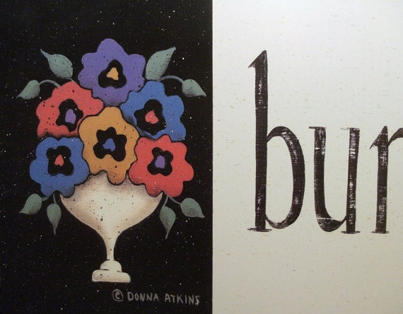 Bungalow Bliss, a country cottage style folk art FLORAL print by Donna Atkins . vintage meets modern