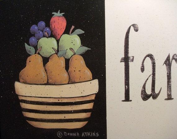 Farmhouse Style, a country cottage style folk art FRUIT Still Life print by Donna Atkins . vintage meets modern