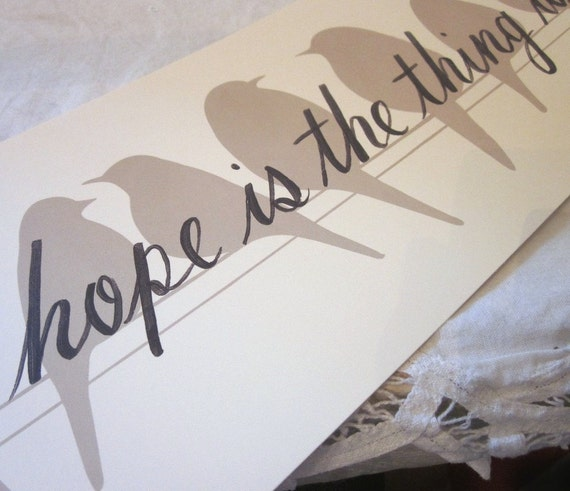 hope is the thing with feathers, an Emily Dickinson quotation yard-long bird silhouette print by Donna Atkins