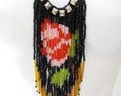 English rose glass fringe necklace