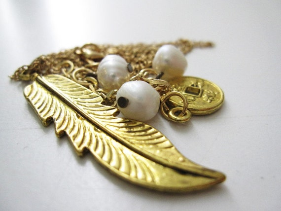 SALE - Heather the Golden feather and pearls necklace