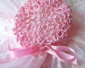 Pink Crocheted Hair Bun Cover with Silver-Lined Crystal Beads- Small