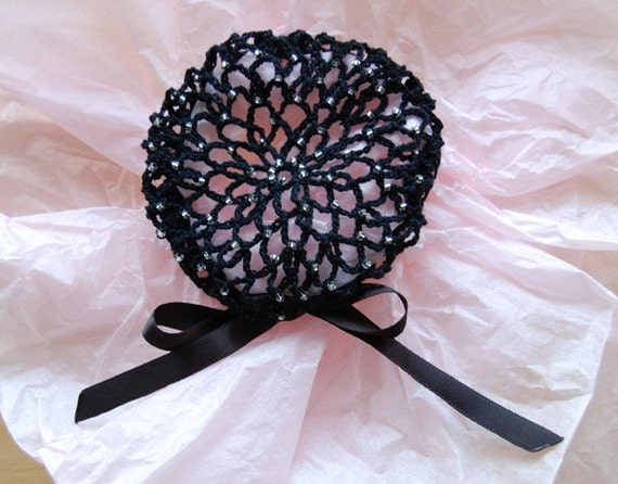 Crochet Hair Cover : Black Crocheted Hair Bun Cover with Silver-Lined Crystal Beads- Medium