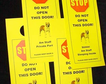 American Staffordshire Terrier Friendly alternative to Beware of Dog signs