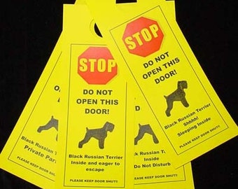Black Russian Terrier's Friendly Alternative to Beware of Dog Signs