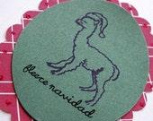 Handmade Alpaca Christmas Card Fleece Navidad