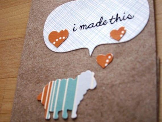 Handmade Knitting Greeting Card Tag Sheep