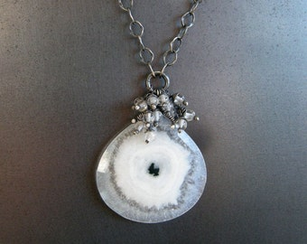 solar quartz aquamarine necklace, aquamarine and quartz necklace