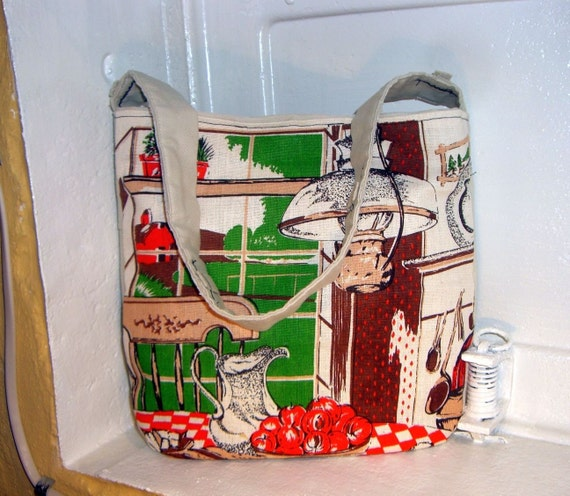 CLEARANCE SALE - The Trouble with Apples - Vintage 1981 Calendar Towel Purse - Salvaged Materials
