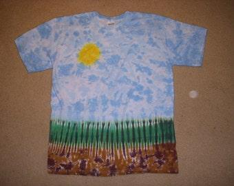 Landscape tie dye tshirt, large L