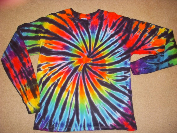 L long sleeve tie dye shirt, rainbow and black spiral, large