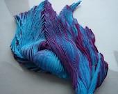 Turquoise and purple shibori scarf