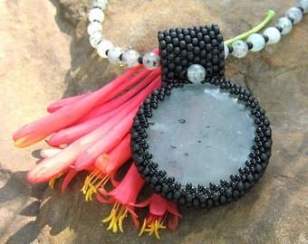 Prehnite Beadwoven Necklace ON