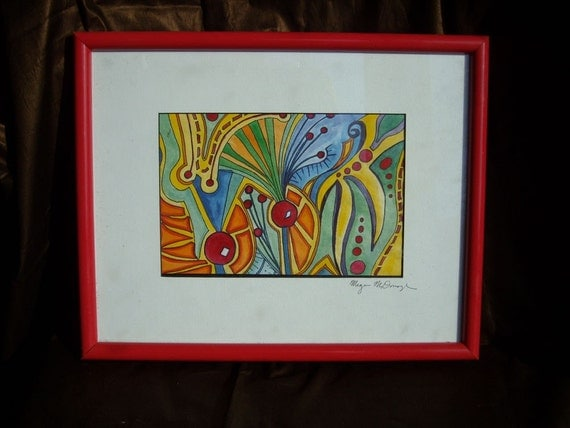 Art From the Margins - Abstract Painting - Red Frame