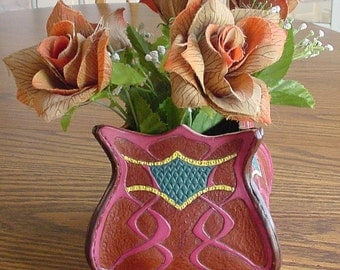 Art Nouveau leather vase