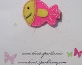 Buy 3 Get 1 Free Sale Pinky The Fish Felt Hair Clip Bow Clippie