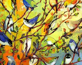 "Modern Nature Art - ""16 Birds"" - Fine Art Print by Jenlo, 12x12 and 16x16"