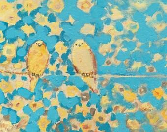 Lemon Yellow Birds 8 x 10 inch Fine Art Print by Jenlo