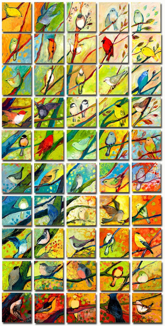 51 Birds - The Complete Set - Limited Edition Reproductions on 5 x 5 Bamboo Panel