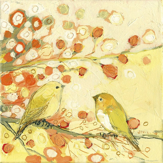 A Little Bird Conversation - 10 x 10 inch Bamboo Fine Art Print by Jenlo