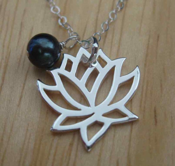 Lotus flower and peacock pearl - sterling silver necklace