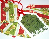 Christmas Candy Holiday Sparkle Tags in Red, White, Green Peppermints