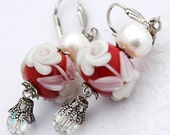 Red Cameo Lampwork Earrings, White Roses, Pearls, Crystals in Silver