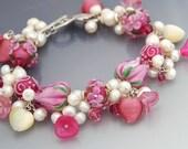 RESERVED - Pink Lampwork Charm Bracelet, Floral Tulips Roses, Pearls