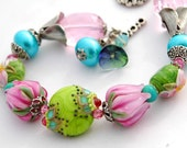 Flowers Lampwork Bracelet, Pink Tulips, Roses, Green Bollywood Style with Aqua