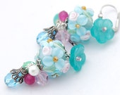 Easter Lampwork Earrings - Easter Floral Blossoms Roses in Aqua Blue, Pink, White