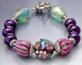 Reserved - Plum Floral Bracelet, Lampwork Beads, Grape Purple Roses with Green