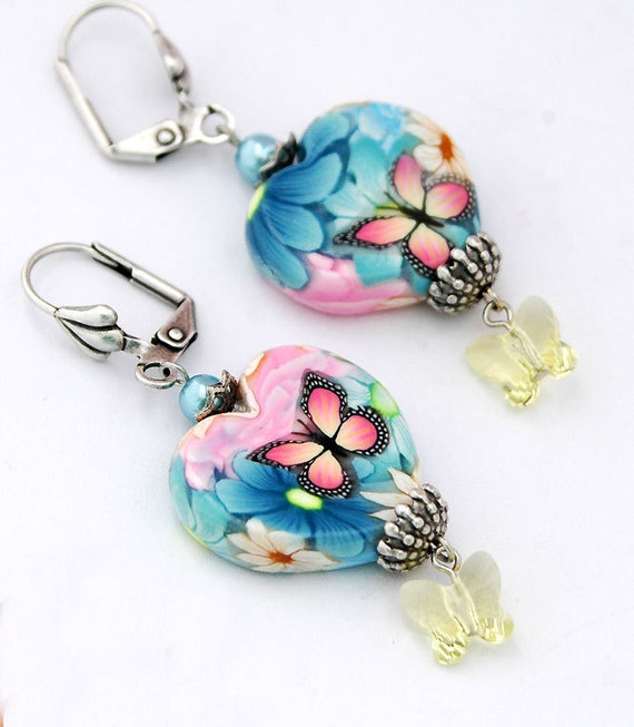 Butterfly Heart Earrings, Pink Monarch Butterflies, Blue, Pink Floral with Yellow Swarovski Crystals