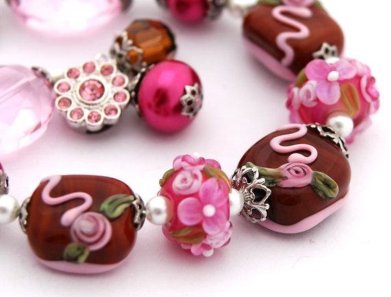 RESERVED - Chocolate Flowers Bracelet, Lampwork Roses, Floral, Mothers Day