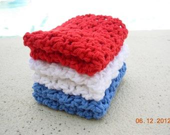 Set of 3 Crochet Dishcloths-Patriotic Set