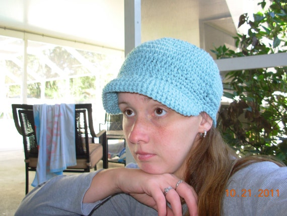 RESESRVED FOR autumn780  CLEARANCE-Brimmed Newsboy Hat-Robin Egg Blue