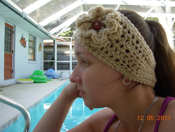 SALEHeadband /Earwarmer/Wrap With Flower
