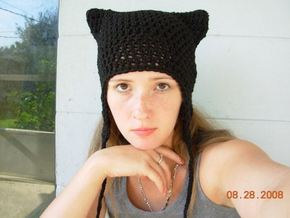 Purrfect Kitty Earflap with Ties Hat