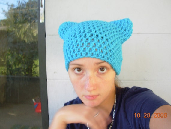 Purrfect Kitty Cat Eared Hat-Aqua Bllue