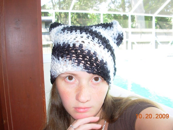 SALE Wednesday Purrfect Kitty Cat Eared Hat-Zebra Color