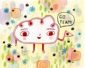 go team - original painting on paper