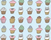 Cupcake pattern fat quarter fabric