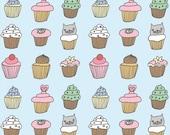 Cupcake pattern fat quarter fabric