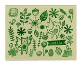 Woodsy Friends set of 4 hand printed cards - blank inside